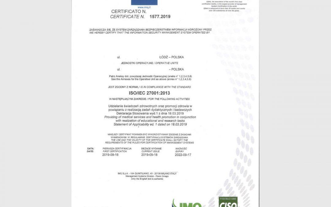Certyfikat: ISO-27001