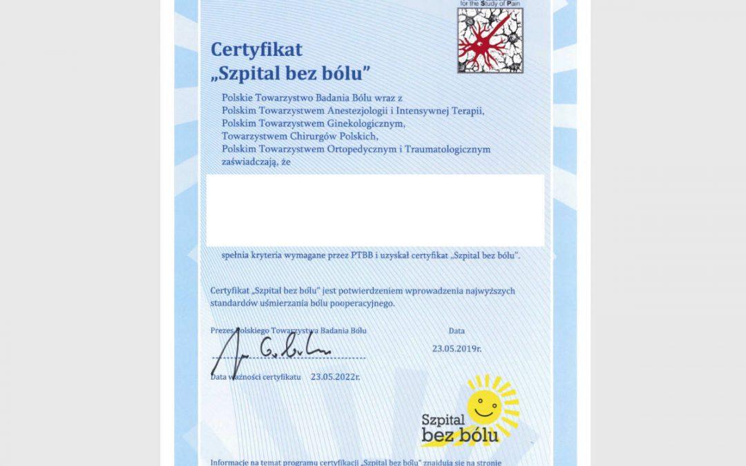 Certyfikat: Bez Bólu